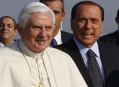 Silvio Berlusconi with Pope Benedict in 2009.