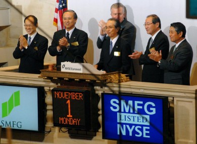 Executives from the Sumitomo Mitsui Financial Group open trading at the New York Stock Exchange last year. The group's IT subsidiary will create 100 jobs in Tralee in the coming years.
