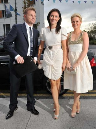 (L to R) Bertie Ahern's son-in0law Nicky Byrne and daughters Georgina and Cecilia arrive for his birthday bash at Croke Park