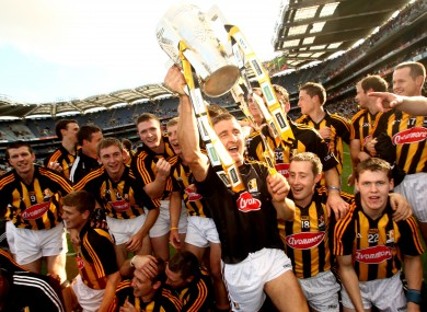Kilkenny goalkeeper David Herity celebrates with the Liam MacCarthy cup on Sunday as Kilkenny beat Tipp in the All Ireland hurling final.