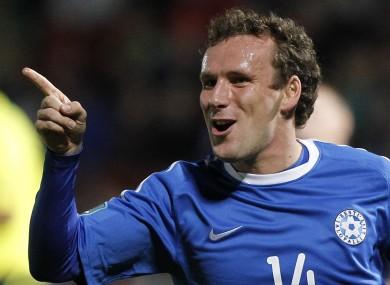 Estonia's Konstantin Vasslijev celebrates scoring against Northern Ireland.