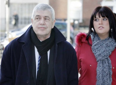 Liam Adams, pictured at the Criminal Courts of Justice with his daughter Claire Smith this morning.