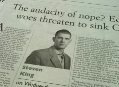 Steven King's column from last Wednesday.