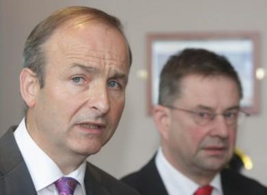 Fianna Fáíl leader and deputy leader Micheál Martin and Éamon Ó Cuiv