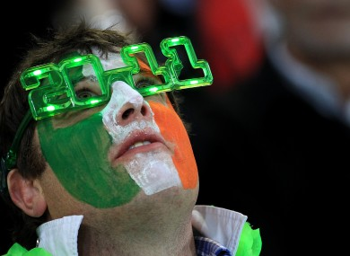 An Irish fan in the stands at the Ireland v Italy game in New Zealand earlier