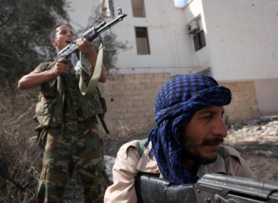 Libyan revolutionary fighters in Sirte two days ago.