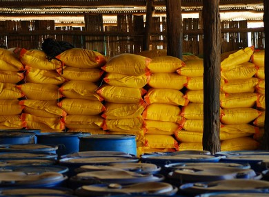 Food stores at a refugee camp in Thailand