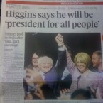 The Irish Times too leads with Michael D's promise to be a 'president for the people'.