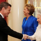 The President's admiration for Irish rugby captain Brian O'Driscoll was obviously matched by Queen Elizabeth II at Dublin Castle last May.   (Maxwells/PA Wire/Press Association Images)
