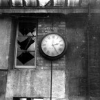 The clock at the General Post Office showing the time it stopped during the 1916 Rising. Image: Mercier Archives