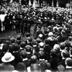 Michael Collins delivered the funeral oration after Thomas Ashe died after being force-fed by authorities while on hunger strike in Mountjoy Prison in September 1917. Image: Mercier Archives