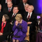 Sabina Coyne-Higgins wiping a tear from her eye as her husband, new President Michael D Higgins, makes his acceptance speech. Image: Photocall Ireland/GIS