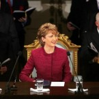 President Mary McAleese during her inauguration ceremony in Dublin Castle on 11 November 2004.