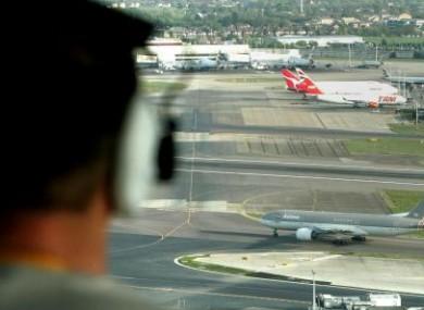 An air traffic controller at work in Heathrow Airport.