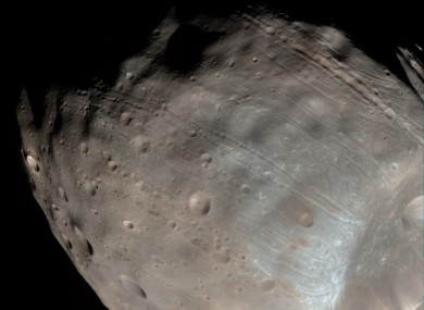 A NASA satellite image of the Martian moon Phobos released in April 2008.
