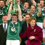 21 March 2009: McAleese shows her delight after Ireland wins its first Grand Slam for 61 years by beating Wales 17-15.  (AP Photo/Tom Hevezi, Pool)