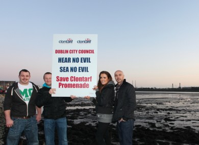 Cian Healy, PJ Gallagher, Holly Carpenter and Ray Shah at a protest in Clontarf last week
