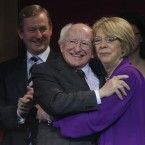 Ireland's President elect Michael D Higgins is hugged by his wife Sabina after his election victory is announced. Pic: Julien Behal/PA Wire