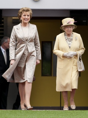 QueePresident Mary McAleese and Britain's Queen Elizabeth during the monarch's state visit in May.