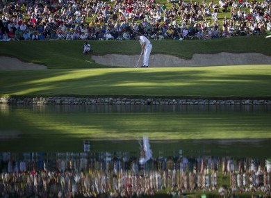 Sergio Garcia putts on the 17th hole during the final round of the Andalucia Masters at Valderrama.