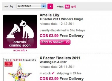Amelia Lily's 'winner's single' was available for pre-order on HMV.com - with no similar offering for the other two finalists.