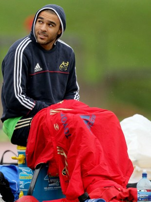 Simon Zebo sits out training in Limerick yesterday.