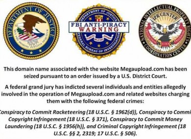 The FBI and US Dept of Justice notice posted on MegaUpload.com