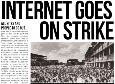 The site overlay Fight for Freedom wants websties to post in protest over SOPA.