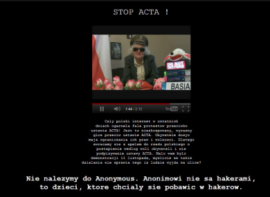 The homepage of the Polish premier Donald Tusk, which was taken down by hackers opposing Poland's adoption of ACTA.