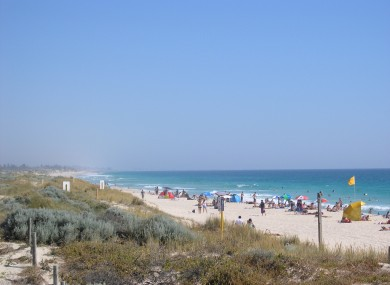 Scarborough Beach in Perth, where a 28-year-old Irishman drowned today.