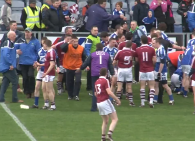 A still from footage of Sunday's violence in O'Moore Park, Portlaoise.