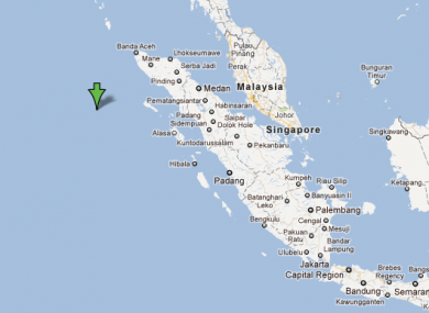 The green arrow here indicates the epicentre of the 7.3-magnitude earthquake which struck at 6:37pm Irish time.