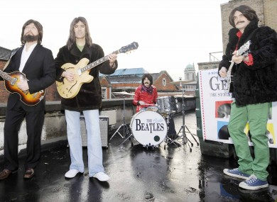 ran King (Paul McCartney), Scott Maher (John Lennon), Binzer Brennan (Ringo Starr) and Rob McKinney (George Harrison) recreate the famous rooftop gig the Beatles did in 1969 on top of the Tivoli Theatre in Dublin to promote the upcoming show 'Get Back - The Story of the Beatles'.