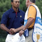 They were once the happiest couple in golf. Steve Williams stuck by Tiger Woods when everyone else deserted him in 2010. Yet when Woods returned he took little time in dumping his long time caddy.  The Kiwi took it badly and said some things he regretted after claiming all the credit for a win by, new partner, Adam Scott.  The photo you see here, records their next meeting in November last year. Not exactly warm, are they?<span class=