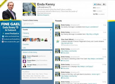 The Taoiseach's Twitter page has not been updated since 8 July 2011 yet he has more followers than any other TD.