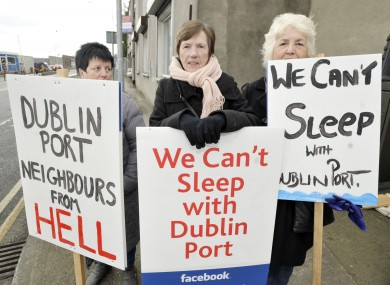 Protesters at the launch of new plans for Dublin Port today