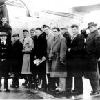 The team board the plane for the Red Star game.