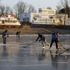 Playing on the ice at Brno, Czech Republic. (AP Photo/Petr David Josek/PA Images)