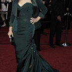 Glenn Close stunning in a fishtail, green number complete with short jacket. Image: AP Photo/Matt Sayles
