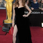 Angelina Jolie shows off some leg in this Atelier Versace.