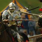 Sandy Lerner of Cisco Systems goes all out when it comes to jousting. It is one of her favorite hobbies, and she owns everything from the lances to the period costumes. She purchased an 800-acre farm in Upperville, Virginia, where she raises dozens of Shire horses for just that purpose. (Pic: David Cheskins/PA Wire)