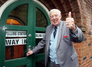 Ian Paisley, pictured voting in the UK's general election in May 2010.