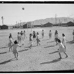 Japanese-American women playing volleyball at the internment camp. (Library of Congress, Prints & Photographs Division)