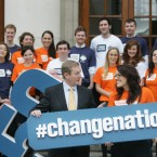 Up to 500 one-on-one meetings will take place over the three days between social entrepreneurs, philanthropists, business and political leaders. Launching the event (LtoR) is An Taoiseach, Enda Kenny TD and Helen McGuire, from Co. Limerick, with members of Change Nation. (Sam Boal/Photocall Ireland)