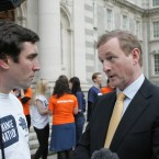 Director of Ashoka and founder of Change Nation Paul O'Hara with Enda Kenny TD outside Goverment Buildings in Dublin today. (Sam Boal/Photocall Ireland)
