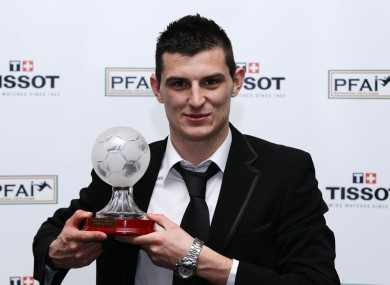 Cummins picking up PFAI First Division Player of the Year.
