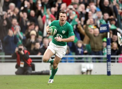 Tommy Bowe crosses over for his second try.