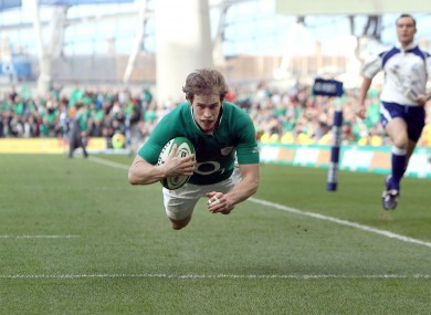Andrew Trimble flies in for tray number five.
