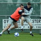 Shay Given wrestles Seamus Coleman off the ball.<span class=