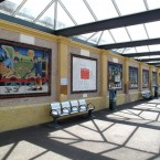 The view of the station platform with new mosaics. (Via mural-to-mosaic.blogspot.com)